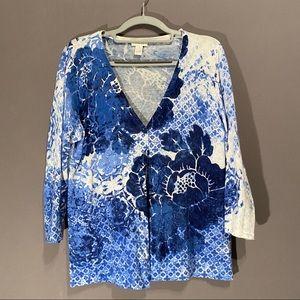 Chico's size 1 blue/white floral design sweater